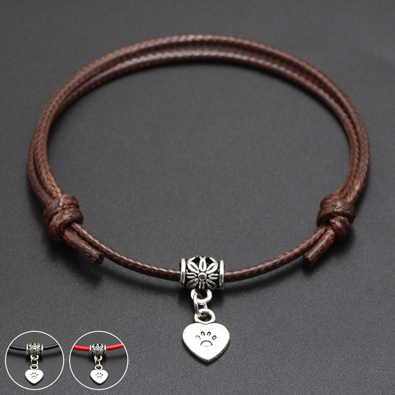 2020 New Cat Paw Heart Pendant Red Thread String Bracelet Lucky Black Coffee Handmade Rope Bracelet for Women Men Jewelry