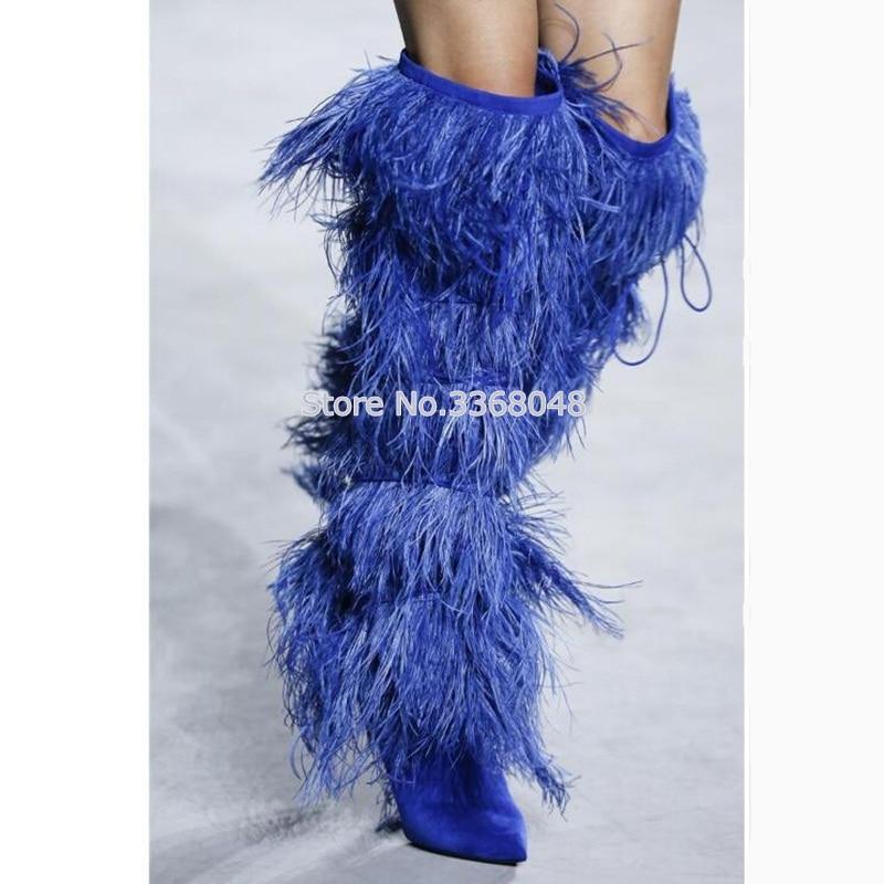 2018 меховые замшевые сапоги до колена на каблуке 10 см, женские кожаные мотоциклетные сапоги с кисточками, зимняя женская обувь для подиума, б...