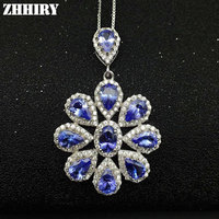 Для женщин натуральный Танзанит синий камни камень кулон Цепочки и ожерелья цепи 925 стерлингов Серебряные ювелирные изделия