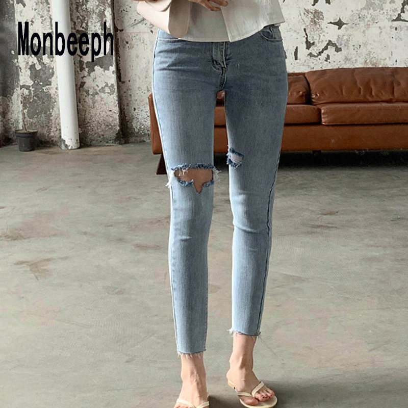 Monbeeph Skinny Jeans Pants Pencil Women Trousers Ripped Casual-Hole High-Waist Denim Vintage
