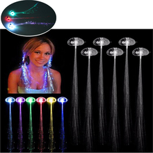 New Arrival Colorful Glowing Halloween Flash LED Ligth Up Blinking Hair Clip Flash LED Show Glow Party bar Supplies Light Wig(China)