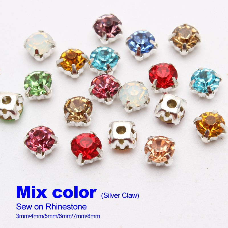 Free shipping Mix color Sew on Rhinestones 4mm 5mm 6mm 7mm 8mm Gold ... 50a5158b96e6