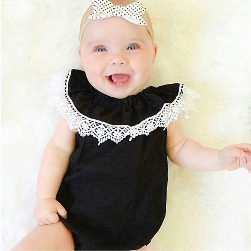 2018 summer new toddler Newborn cute Baby Girl Kids Sleeveless Lace Romper black Lotus collar Jumpsuit Cotton Sunsuit Outfits ...
