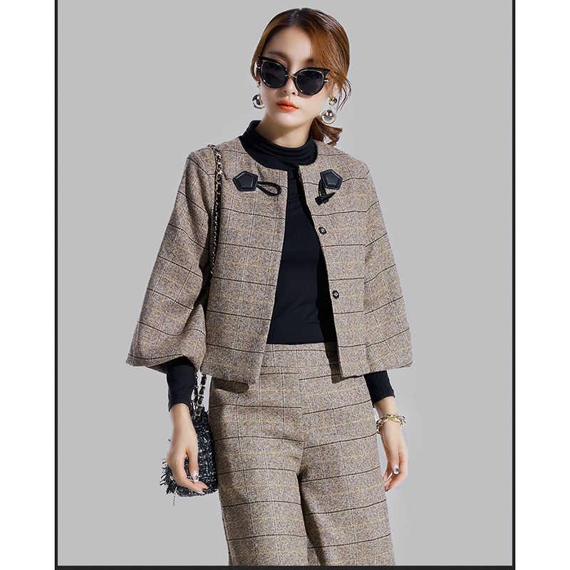 Trajes de otoño para mujer 2018 moda Primavera conjunto de dos piezas blazer corto a cuadros + Pantalones de pierna ancha para mujer dos conjunto de piezas y pantalones