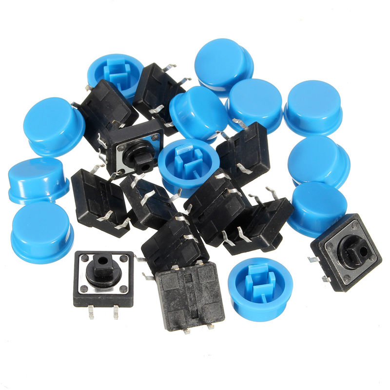 20pcs 4Pin Blue Tactile Push Button Switch Momentary Tact Caps Used in the Fields of Electronic Products Waterproof Favorable g95y 50pcs 6x6x12mm 4pin g95 tactile tact push button micro switch direct self reset dip top copper the cheapest high quality