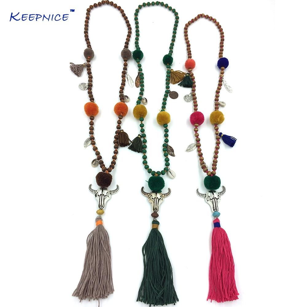 Collares Collier Maxi Necklace Boho For Buffalo Head Skull Tauren Pendants Necklace Tassel Beades Chain Long Pompoms Charm