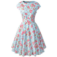 Vfemage Womens Elegant Vintage Summer Print Belted Tunic Pinup Patchwork Work Office Casual Party Dress 2018