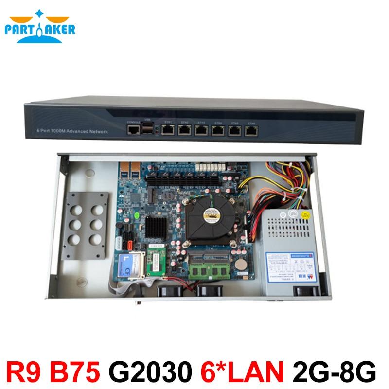 Partaker R9 B75 G2030 1U Router 6 Intel 82583V Gigabit Ethernet Support Server Software partaker 1u firewall server security firewall d525 with intel pci e 1000m 4 82583v 2gb ram 32gb ssd pfsense router