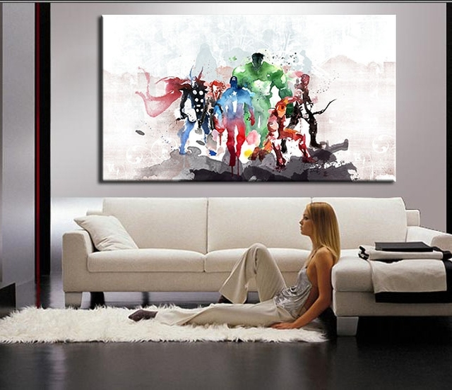The avengers modern art canvas wall paintings cuadros for Art work for living room