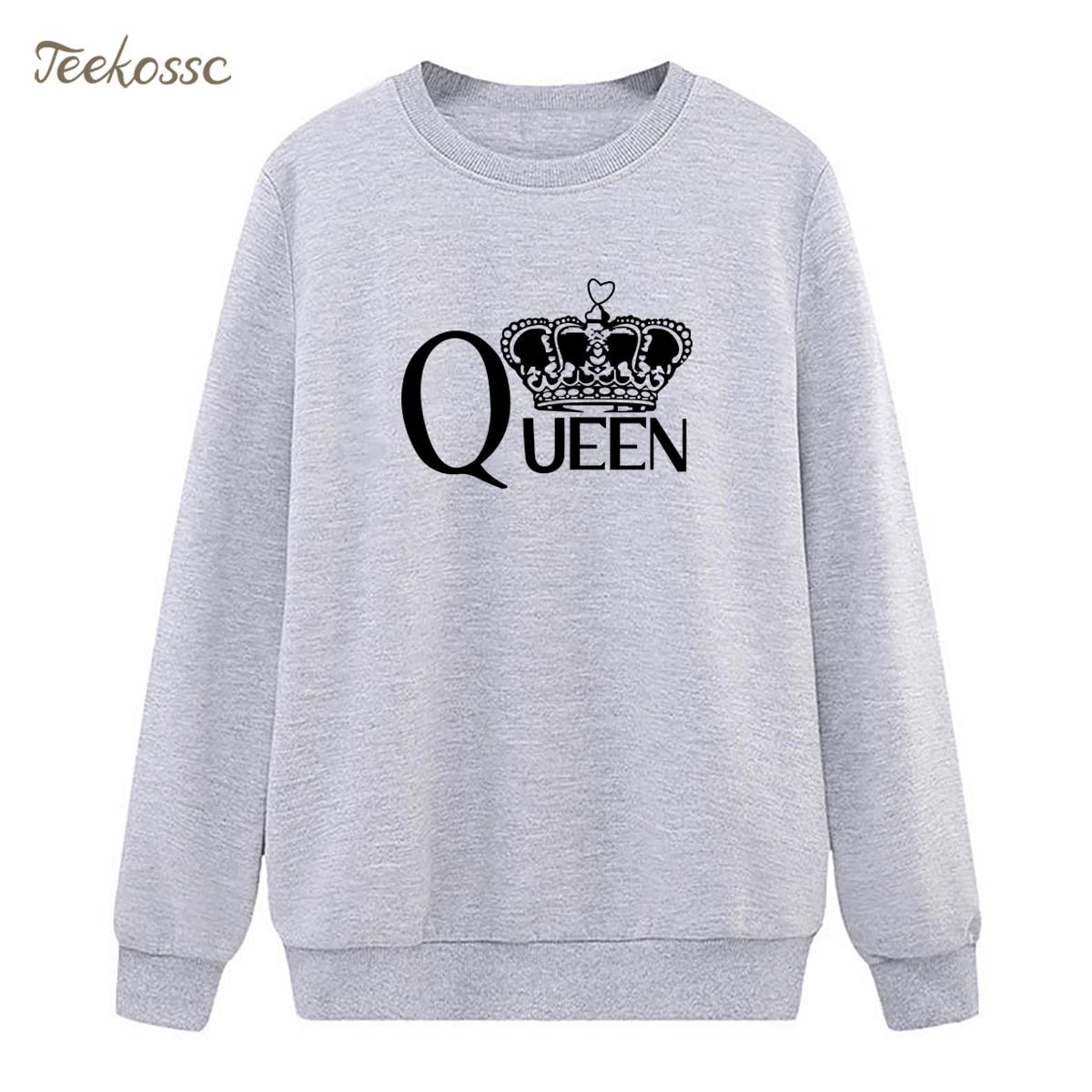 Queen Crown Sweatshirts Womens Gray Casual Hoodies 2018 Hot Sale Winter Autumn Lady Pullover Loose Fleece Hipster Sportswear XXL