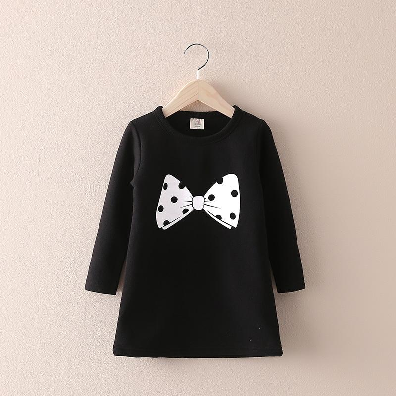 2017 Autumn Winter Baby Girls Clothes Korean Fleece Sweater Girls Dress Long Sleeve Cotton Princess Dress Kids Dresses For Girls zeki b1987 13ru