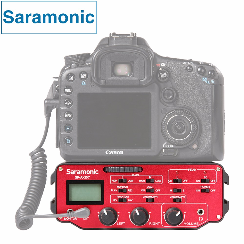 Saramonic SR AX107 XLR Microphone Audio Mixer Adapter Preamplifiers Phantom Power for DSLR Canon Nikon Sony