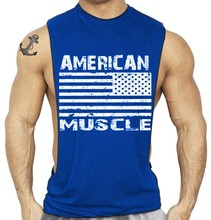 Men Fitness Sleeveless Vest American Jack National Flag clothing Sexy Muscle Tank Top Bodybuilding Suit Solid Color