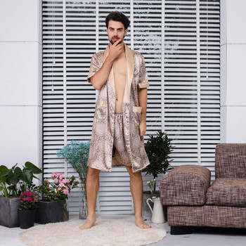 066043912cb20 2019 сексуальный мужской банный халат летний Имитация шелк с длинными  рукавами домашний сервис тонкие мужские пижамы 5,14