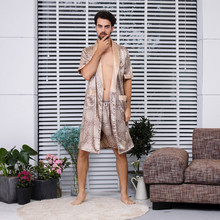 9167d68da 2019 Simulação de Seda sexy roupão de banho dos homens robe de Verão Longa  Seção Mangas