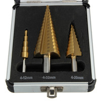 High Quality 3pcs 4 12 4 20 4 32 High Speed Steel Step Drill Bit Set
