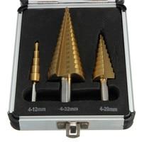 جودة عالية 3 قطع 4-12/4-20/4-32 عالية السرعة الصلب الخطوة مثقاب مجموعة جولة شانك
