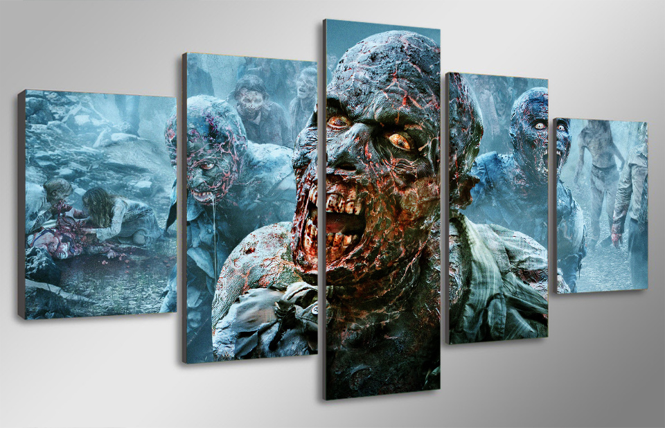5 Panel No Framed HD Printed the walking dead zombies Painting ...