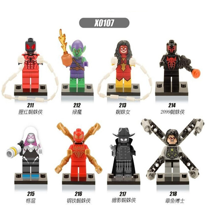 Single Sale Captain America Iron Spider-Man Gwen Green Goblin Shadows Doctor Super Heroes Building Blocks Kids Gift Toys X0107