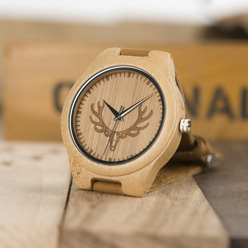 Topdudes.com - Deer Head Design Luxury Bamboo Watches with Soft Leather Strap for Men