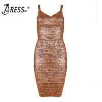 2017 New Women Sexy Club Sheath Sleeveless Gold Mini Spaghetti Strap Summer Dress