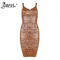 2017 New Women Sexy Club Sheath Sleeveless Gold Mini Spaghetti Strap Summer Dress