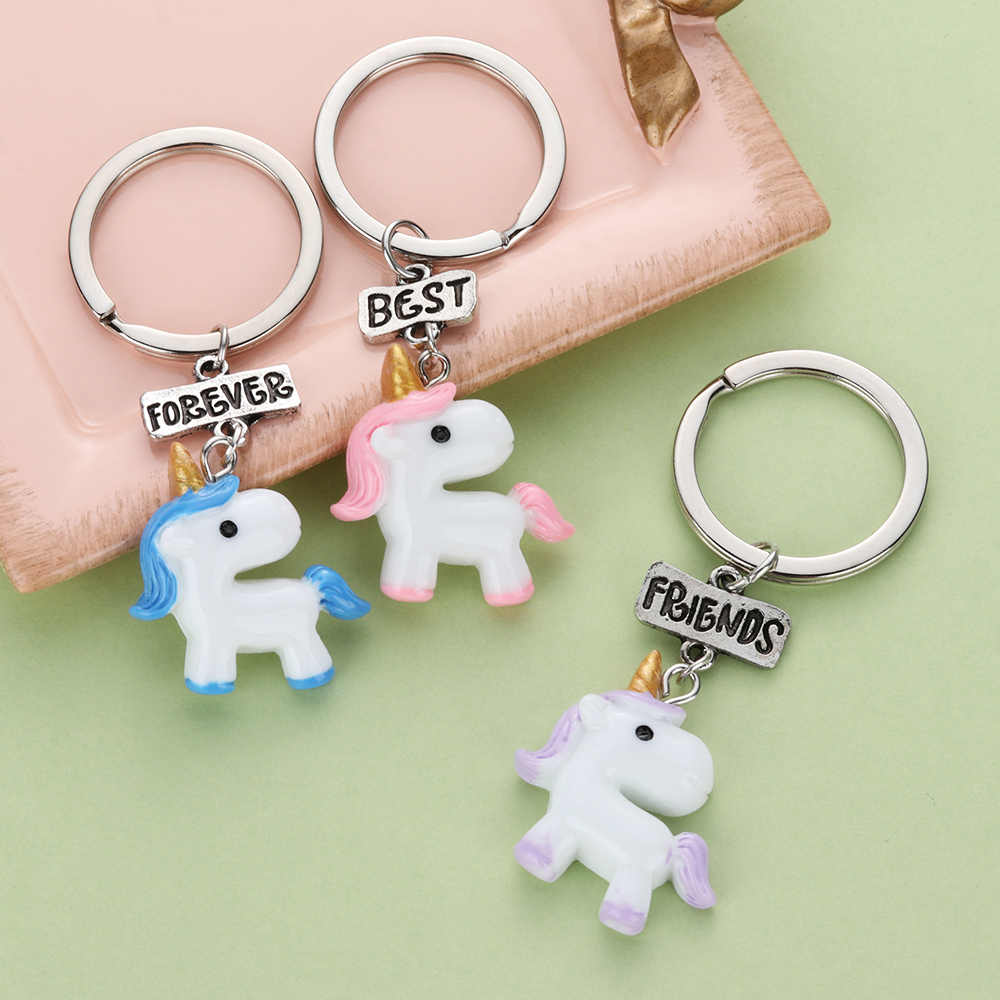 2/3 PCS New Fashion Unisex My Little Unicorn Pendant Keychain Best Friends Forever BFF Keyring For Friendship Gift Set