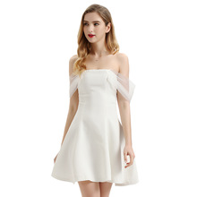 Women summer white dress vestidos elegant off shoulder one-word collar lace sleeve party solid vintage princess