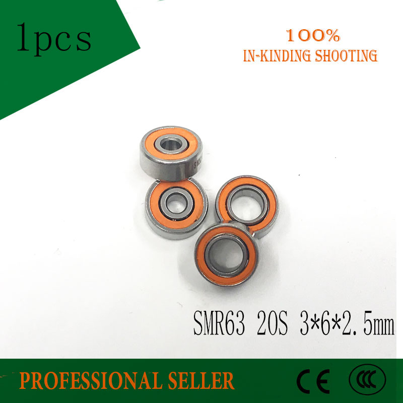 Free shipping 1PC 3X6X2.5mm SMR63-2RS CB ABEC7 Stainless Steel Hybrid Ceramic Bearings/Fishing Reel Bearings SMR63 2OS