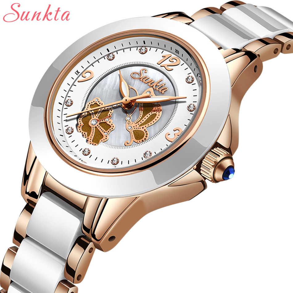 SUNKTA luksusowe zegarek kryształowy kobiety wodoodporna różowe złoto ze stali nierdzewnej pasek na rękę Ladies zegarki Top marka bransoletka zegar Relogio Feminin