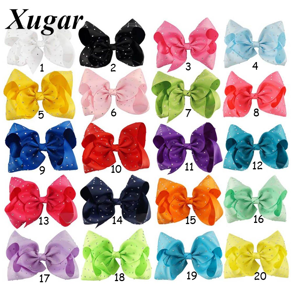 7'' Large Candy Color Hair Clip With Chic Rhinestone Hair Bow For Popular Girl Dance Party Hair Accessories halloween party zombie skull skeleton hand bone claw hairpin punk hair clip for women girl hair accessories headwear 1 pcs
