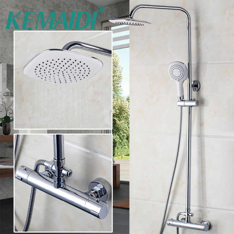 KEMAIDI Moderne Badezimmer Thermostat Wasserhahn Chrom Poliert Dusche Set  Mischer Wasserhähne Wand Befestigtes Regendusche Armaturen
