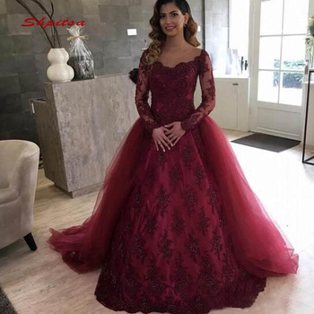 11a041009 De manga larga de encaje vestidos Quinceanera vestido de bola desmontable  tren de baile de Debutante 16 dulces 16 vestido vestidos de 15 años