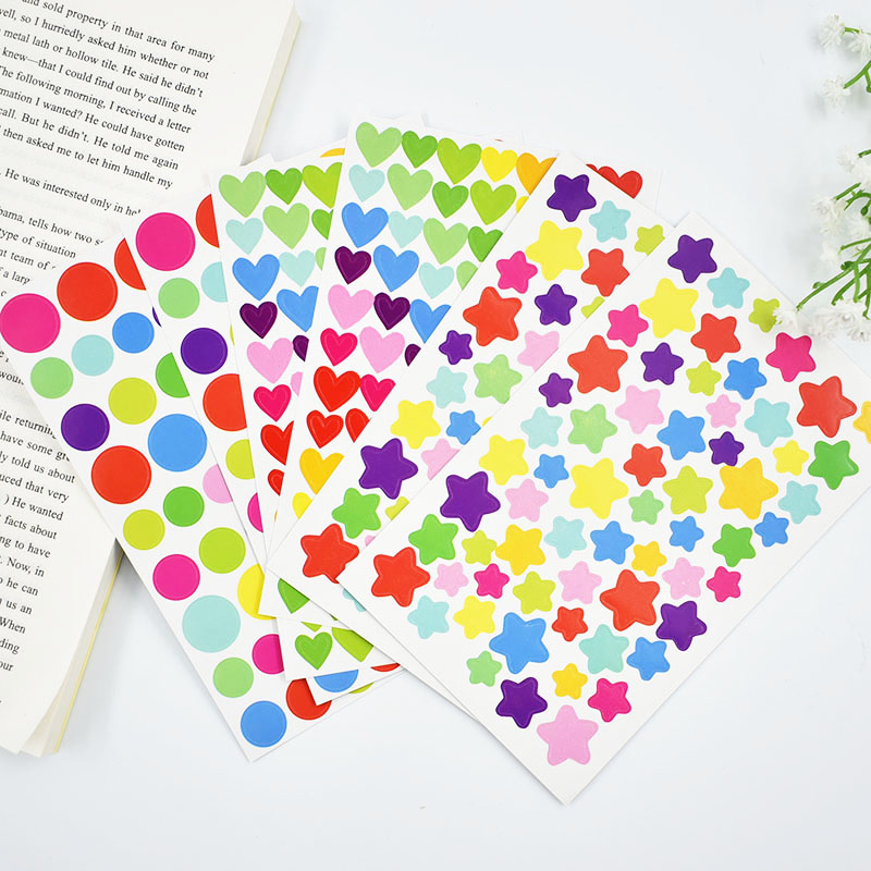 6 Pcs/lot DIY Cute Kawaii Colorful Paper Heart Decorative Adhesive Stickers For Home Decoration Photo Album Scrapbooking Diary