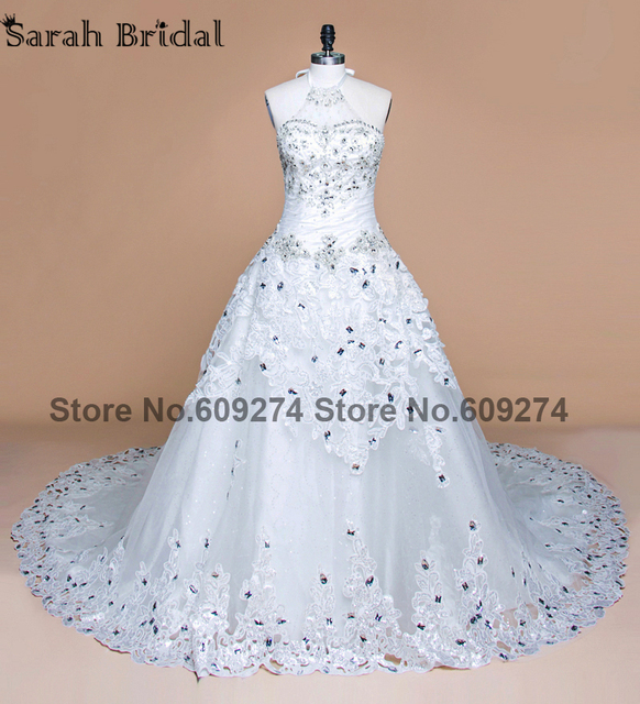 Luxurious Crystals Lace Wedding Dresses Royal Train Halter White Beading Gowns Open Back Vestidos De