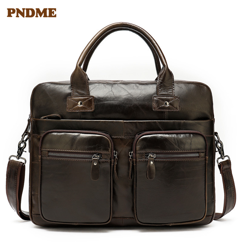 PNDME Vintage First Layer Cowhide Men's Briefcase Genuine Leather 14 Inch Business Laptop Bag Shoulder Bag Crossbody Bags Office