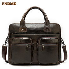 PNDME vintage First layer cowhide Men's briefcase genuine leather 14 inch business laptop bag shoulder bag Crossbody Bags office p kuone first layer cowhide male bag business men handbag cross section shoulder bags genuine leather briefcase laptop bag