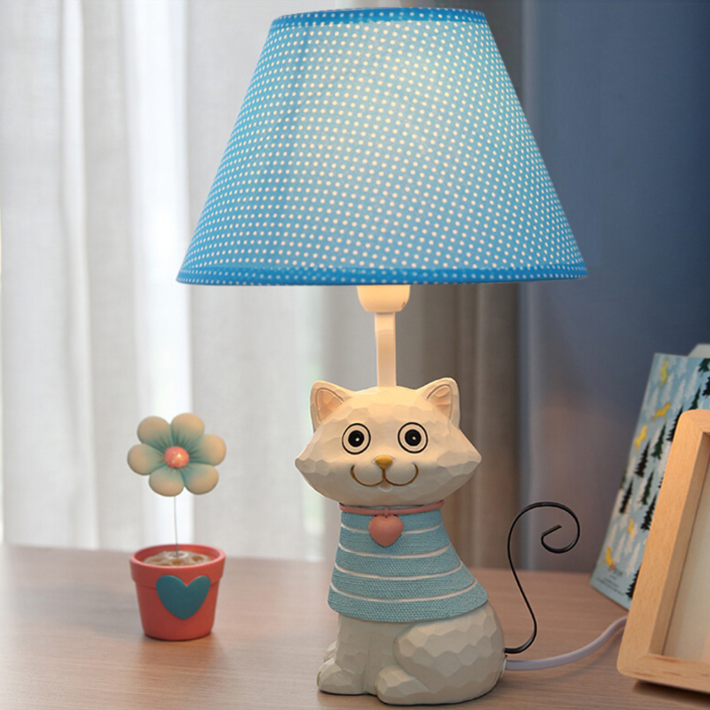 ФОТО High Quality E14 110V-220V Children Room Cat Pink Bedside Lamp Decoration Reading Led Lamp  Switch Button Study Lamps