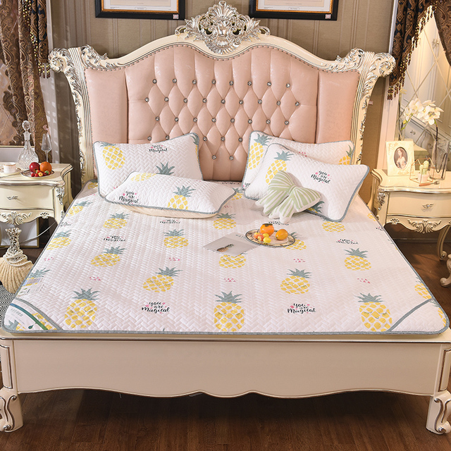 3Pcs Soft Cotton Tencel Silk Bedding Set Queen King Size Bedspread Set Cool  Summer Quilted Bed