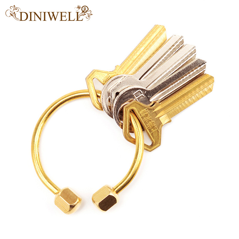 DINIWELL Nordic Style Copper Key Ring Half Circle Storage Holder Simplicity Style KeyChains For Man Woman