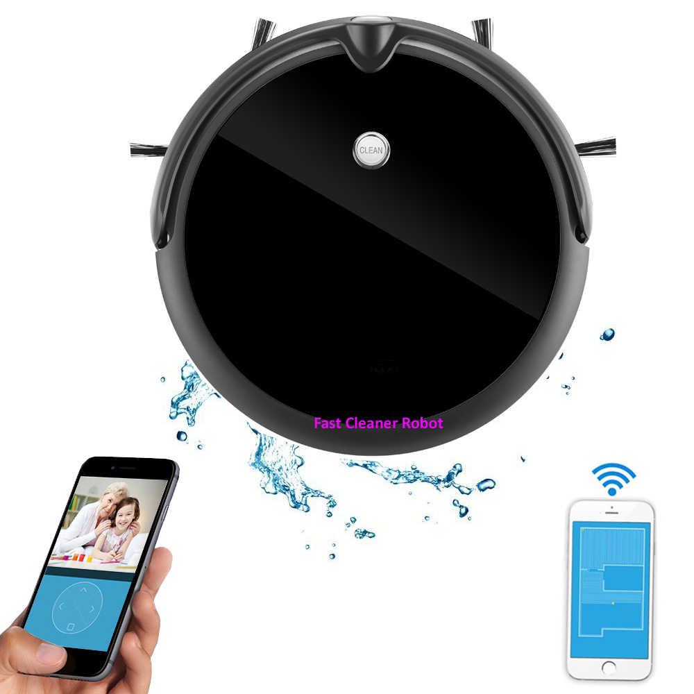 ¡Novedad de 2020! Robot aspirador limpio con cámara, mapa de navegación inteligente, Control de aplicación WIFI para teléfono inteligente, tanque de agua, robot aspiradora