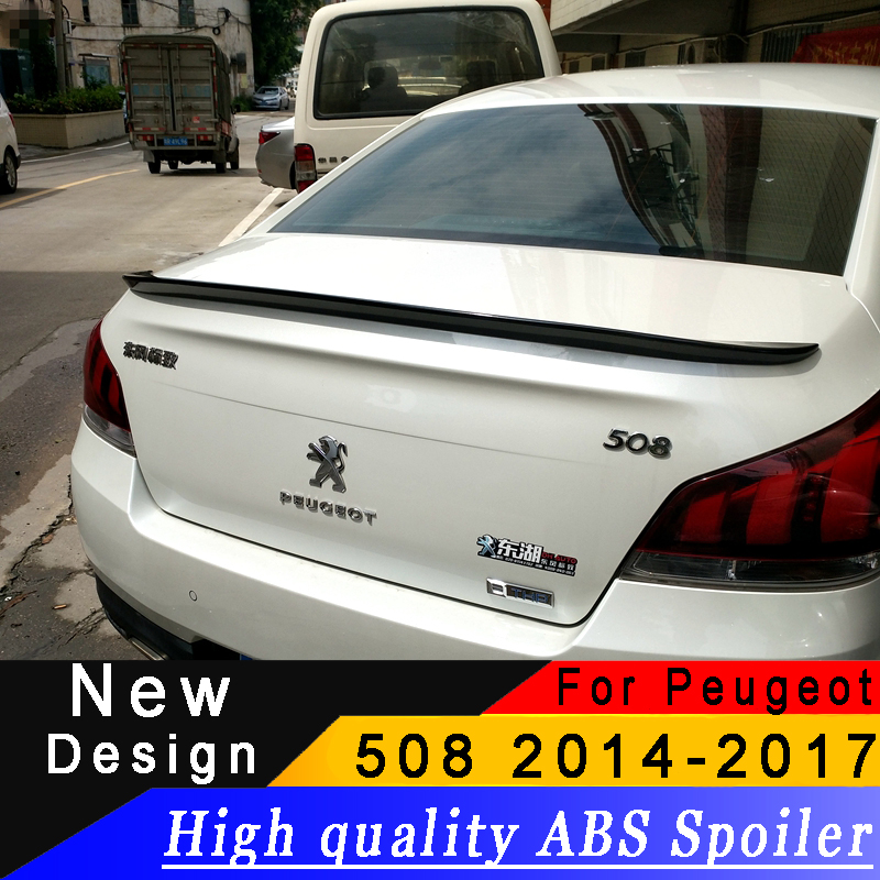 For Peugeot 508 2014 to 2017 High quality ABS spoiler any color or primer car rear wing Automobile beautification spoilerFor Peugeot 508 2014 to 2017 High quality ABS spoiler any color or primer car rear wing Automobile beautification spoiler