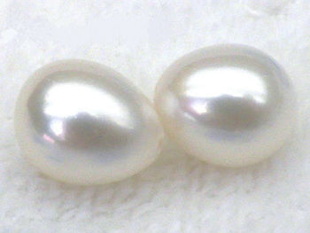 free shipping Genuine Match Pair 8.5*10mm +++ white Loose Half Drilled Drop Akoya Pearls