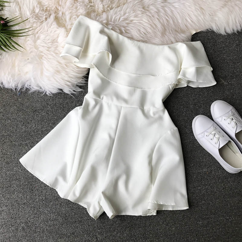 HTB1o3qCclKw3KVjSZTEq6AuRpXal - Candy Color Elegant Jumpsuit Women Summer Latest Style Double Ruffles Slash Neck Rompers Womens Jumpsuit Short Playsuit