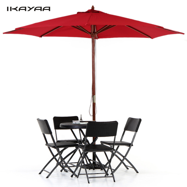 IKayaa UK Stock Outdoor Beach Parasol Jardin Canopy 8 Ribs Pole 3M Wooden  Garden Patio Umbrella