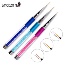 High Quality Liner Brush Nails Arylic Metal Handle Liner Brush for UV Gel Nail Brushes With Cap