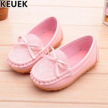 New Children Single Shoes Flats Slip-On Loafers Kids Leather Shoes Girls Fashion Bling Butterfly-knot Casual Sneakers Baby 033