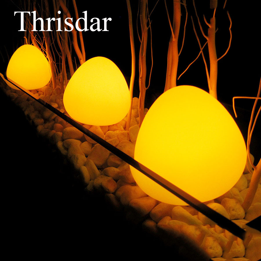 Thrisdar 16 Color Egg Shape Solar Garden Landscape Yard Path Lawn Lamp IP65 Outdoor Solar Illuminated Furniture Bar Table Lamp stainless steel solarlampen spike light hollow engraving landscape garden path lawn solar lamps outdoor grounding sun light