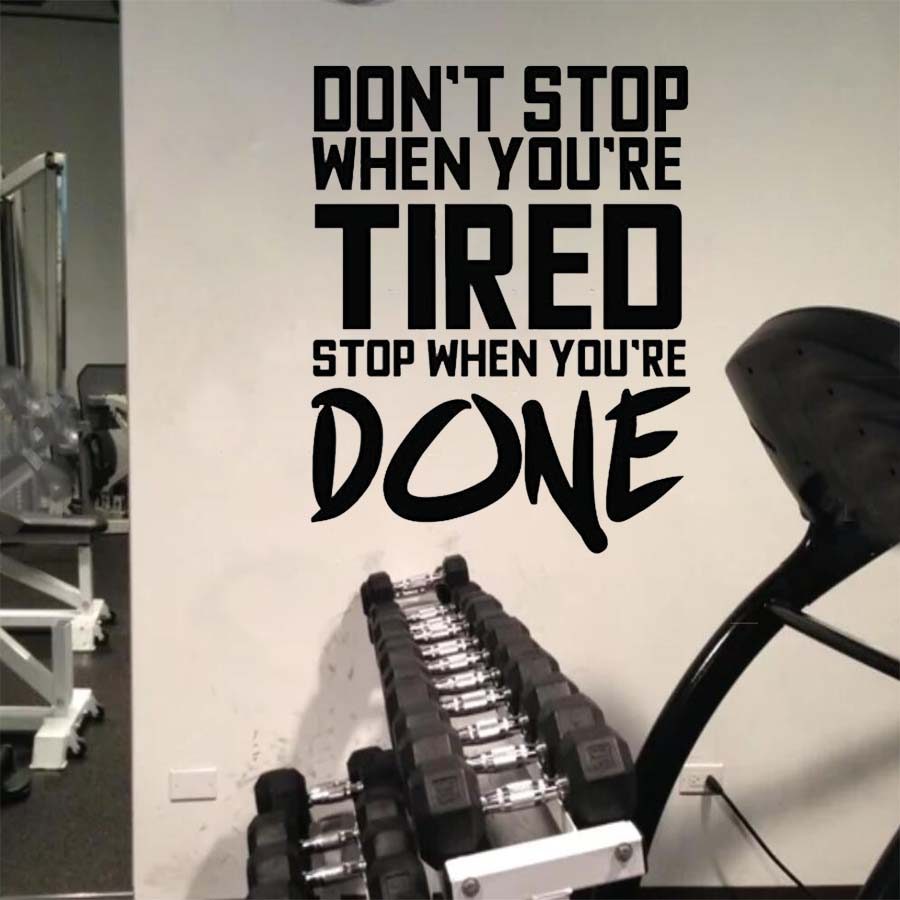 Gym vinyl wall decal sticker workout quotes wall decal home gym