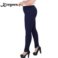 2017 Fashion Big Yards 2XL 6XL Women Pants Full Length High Waist Elastic Long Pants Fat